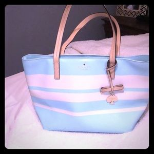Kate spade small blue and white tote